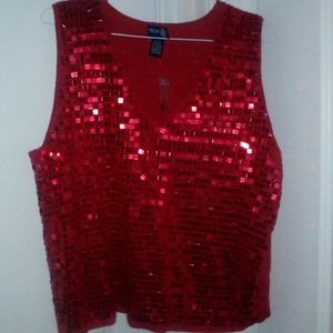 Red sequined top
